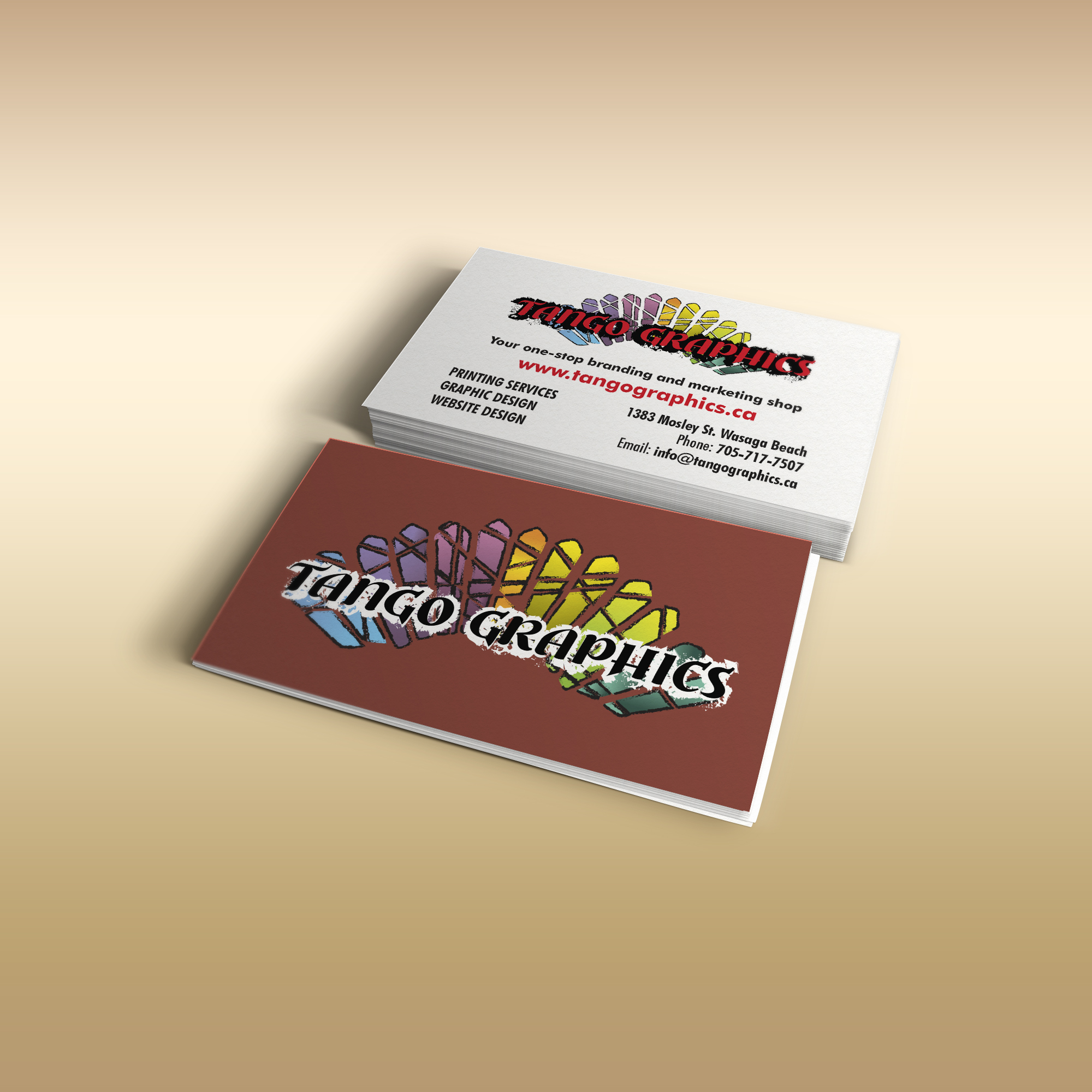 About us tango graphics print shop web and graphics business card mock reheart Choice Image