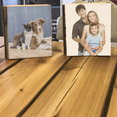 Photo on wood block