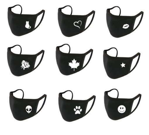 Face Mask (earloops) – black with white decoration